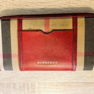 Authentic Burberry Dark Red House Check Canvas Zig